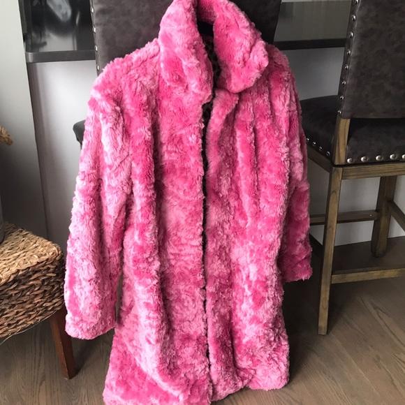 90/'s Bubble Gum Pink Fuzzy Faux Fur Jacket  M